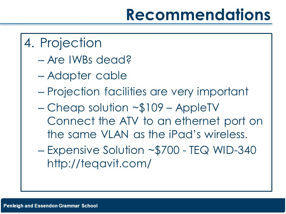 Recommendations Projection Are IWBs dead Adapter cable