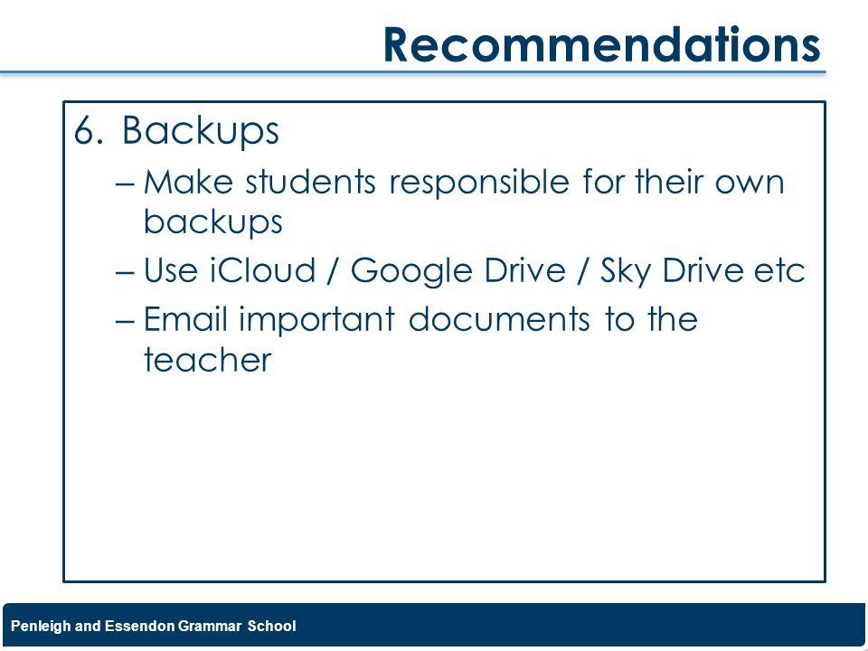 Recommendations Backups