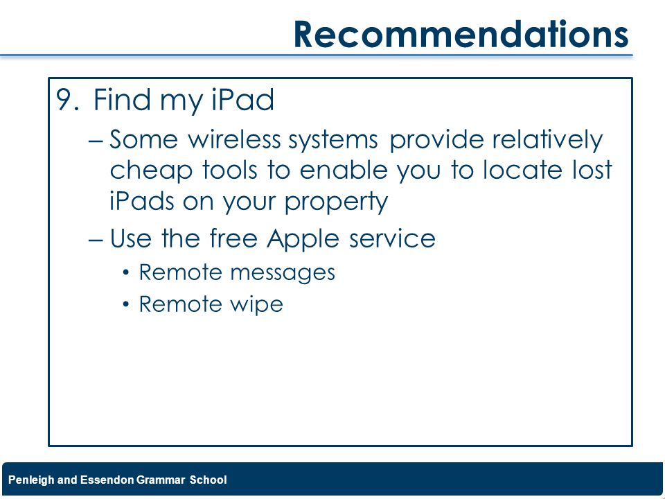 Recommendations Find my iPad