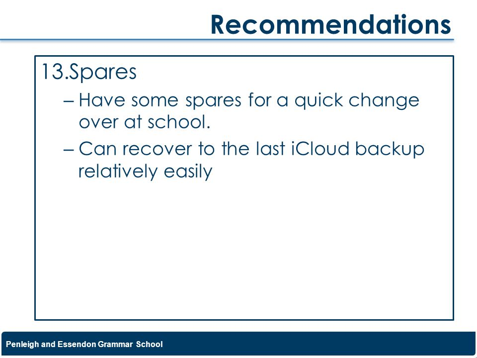 Recommendations Spares