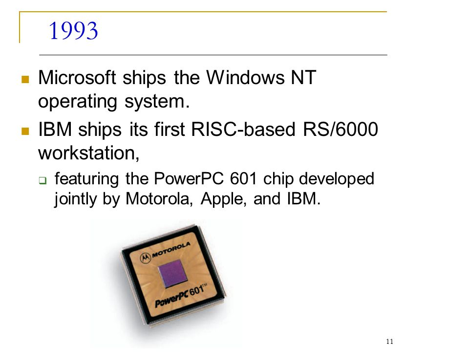 1993 Microsoft ships the Windows NT operating system.