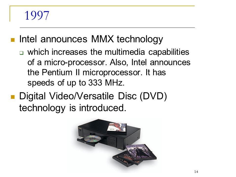 1997 Intel announces MMX technology