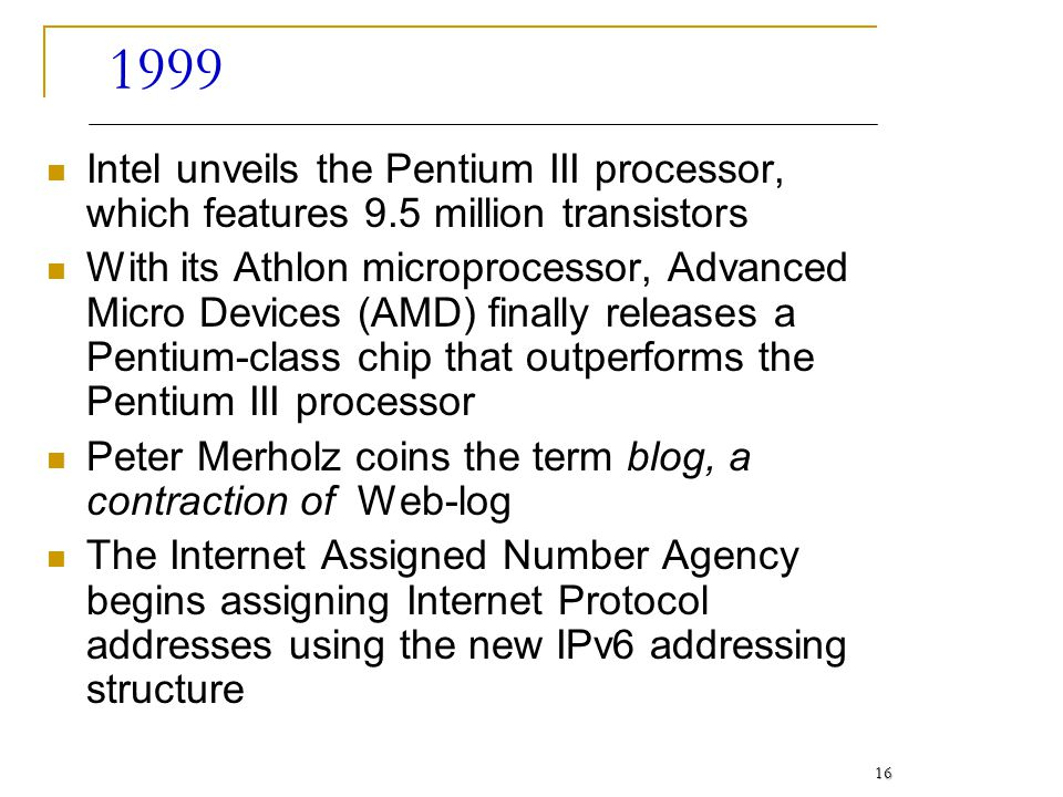 1999 Intel unveils the Pentium III processor, which features 9.5 million transistors.