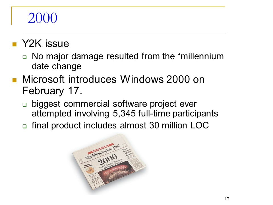 2000 Y2K issue Microsoft introduces Windows 2000 on February 17.