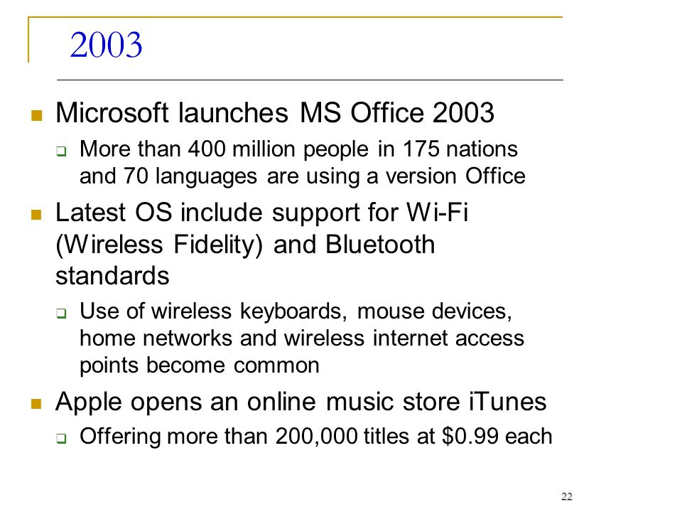 2003 Microsoft launches MS Office 2003