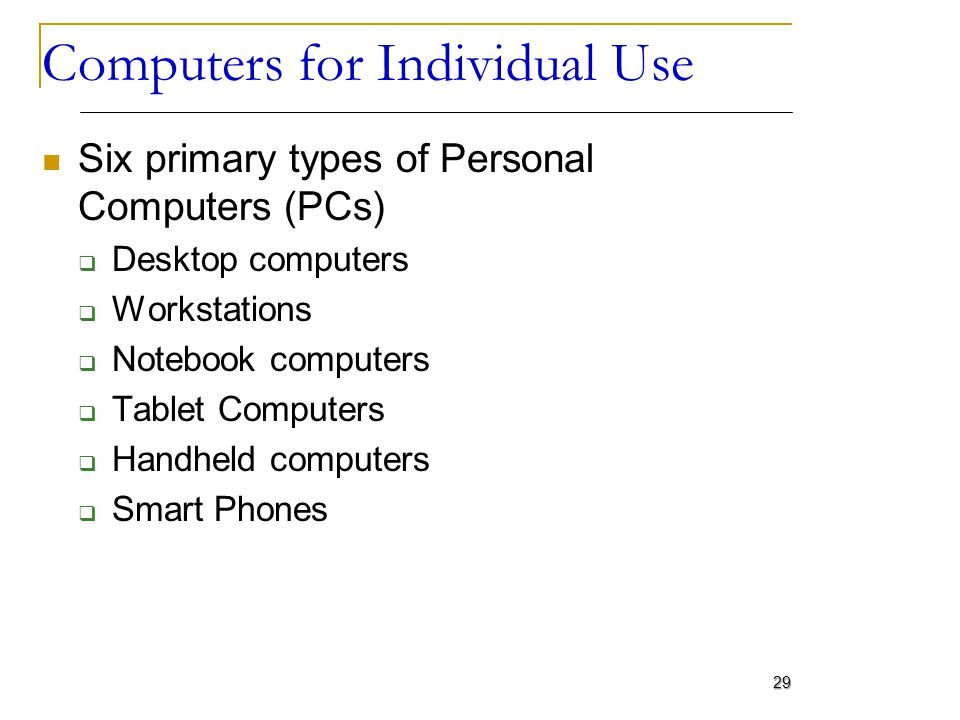 Computers for Individual Use