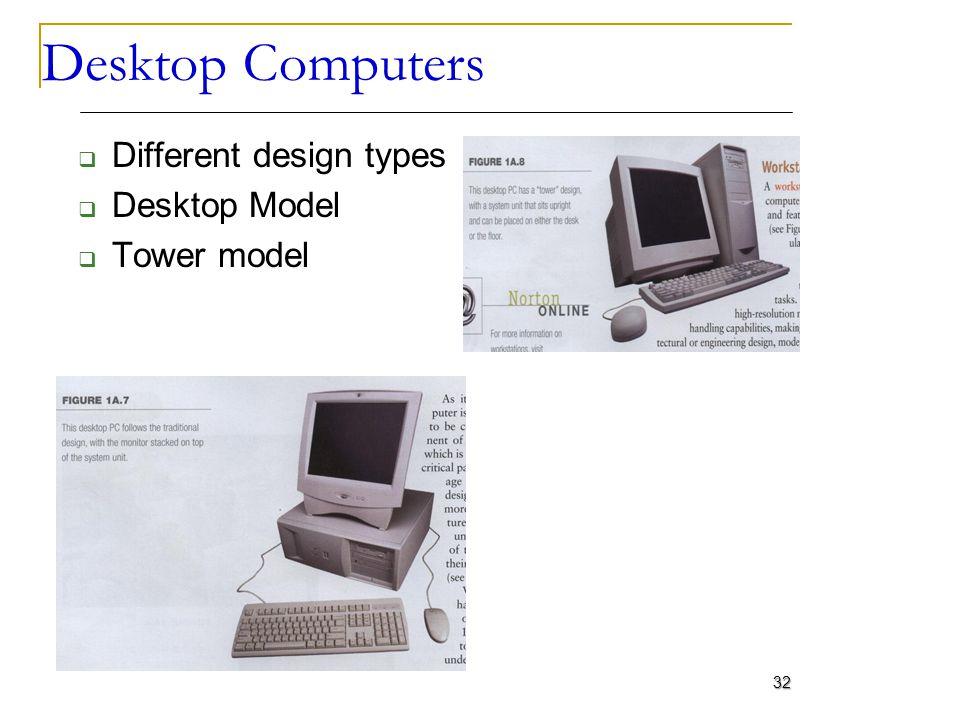 Desktop Computers Different design types Desktop Model Tower model
