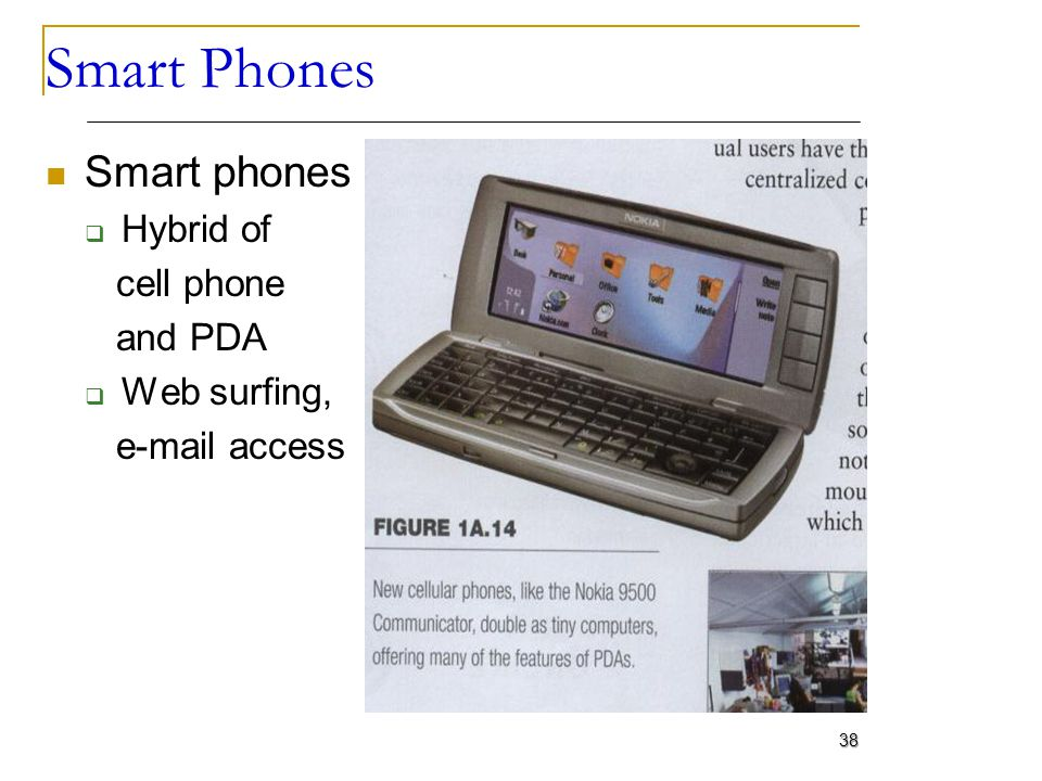 Smart Phones Smart phones Hybrid of cell phone and PDA Web surfing,