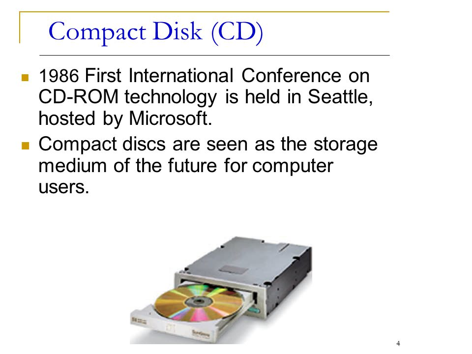 Compact Disk (CD) 1986 First International Conference on CD-ROM technology is held in Seattle, hosted by Microsoft.