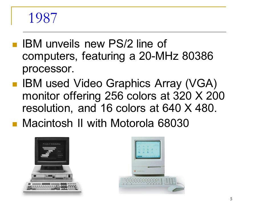 1987 IBM unveils new PS/2 line of computers, featuring a 20-MHz 80386 processor.