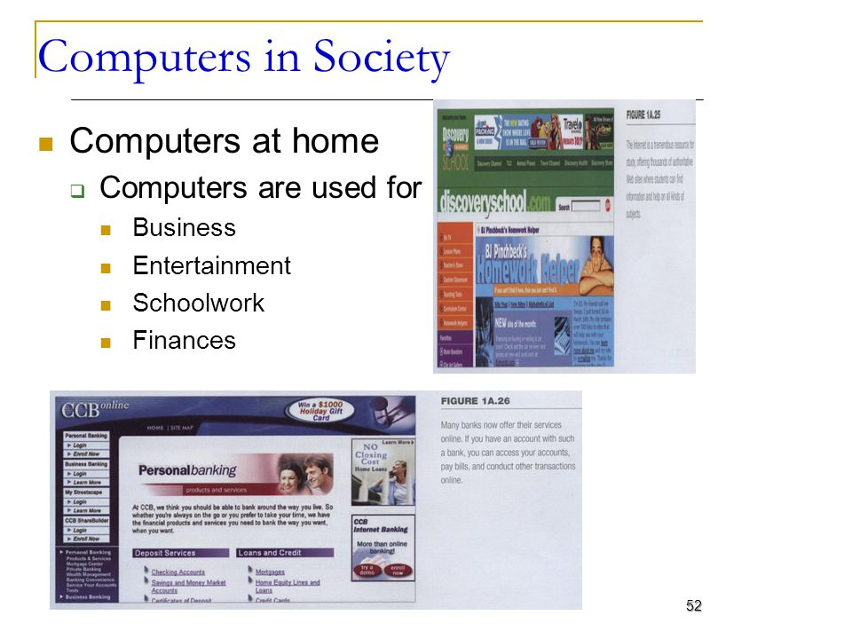 Computers in Society Computers at home Computers are used for Business