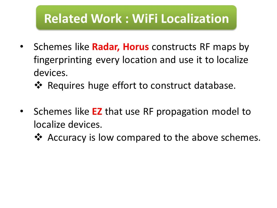 Related Work : WiFi Localization