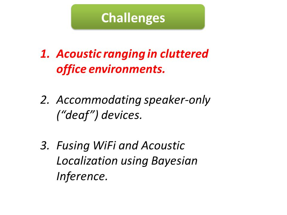 Challenges Acoustic ranging in cluttered office environments.