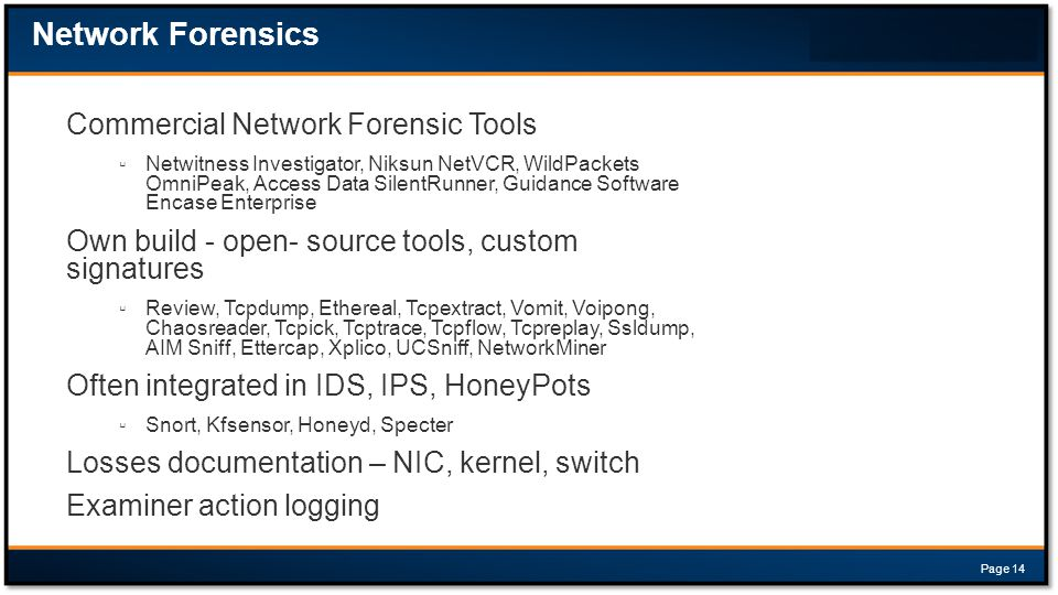 Network Forensics Commercial Network Forensic Tools