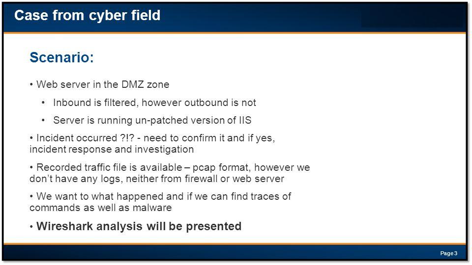 Case from cyber field Scenario: Web server in the DMZ zone