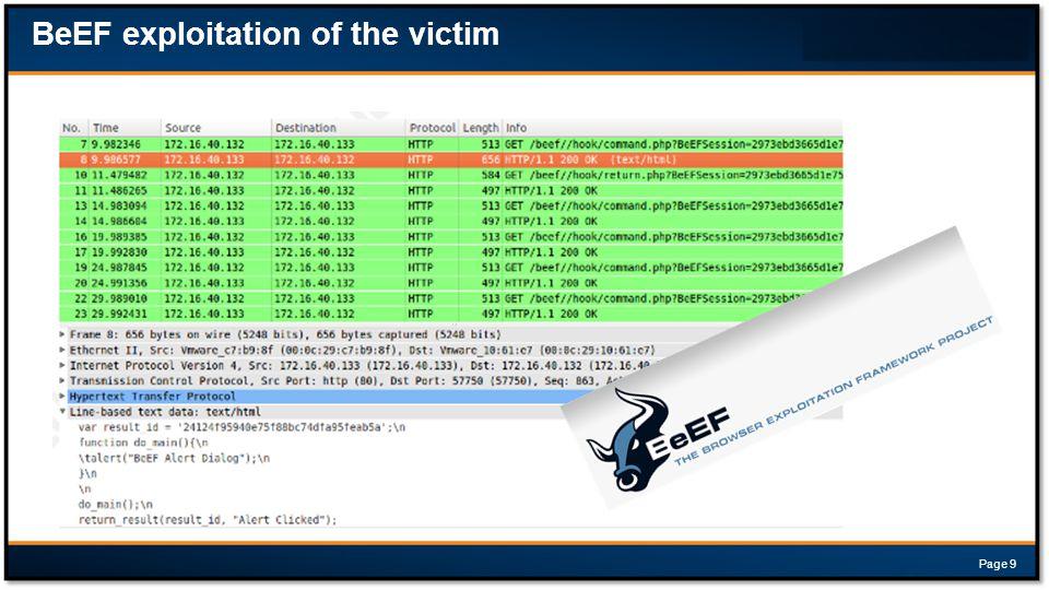 BeEF exploitation of the victim