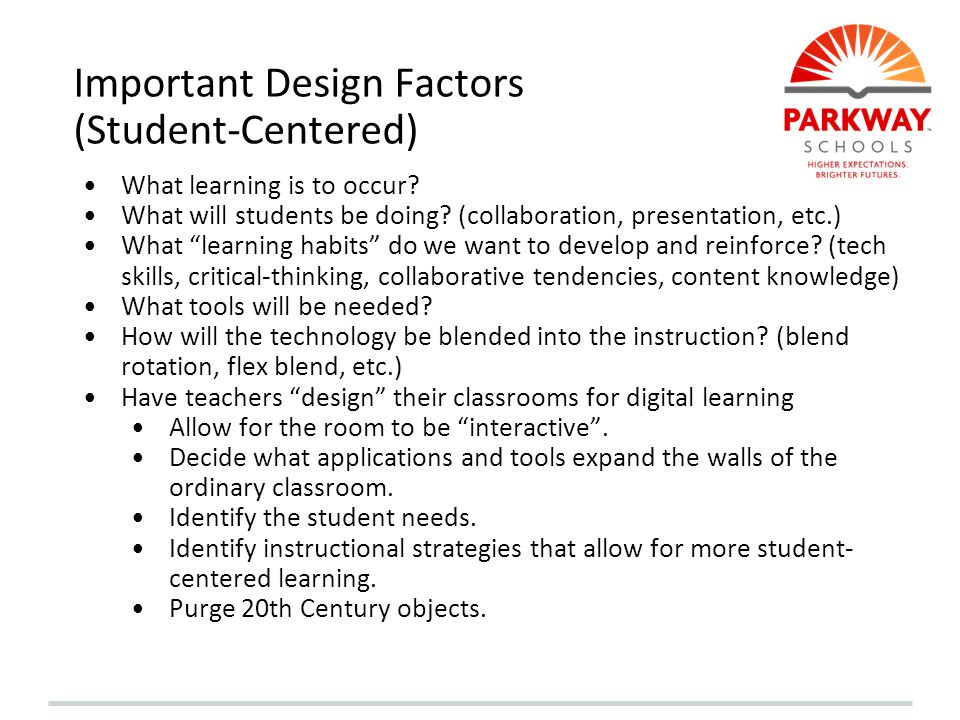 Important Design Factors (Student-Centered)