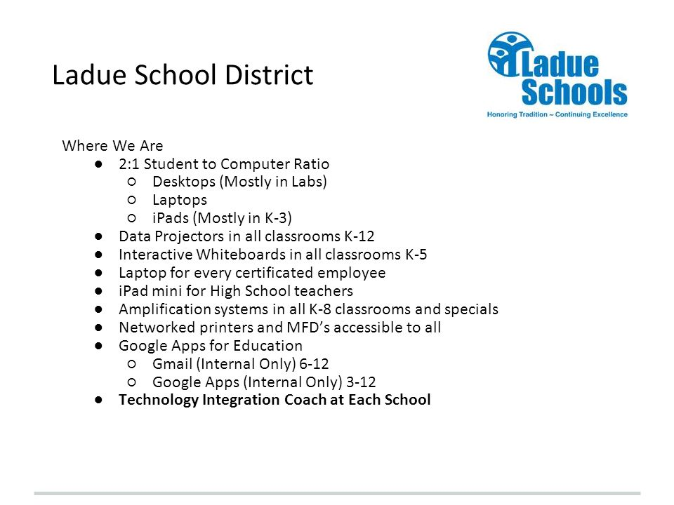 Ladue School District Where We Are 2:1 Student to Computer Ratio