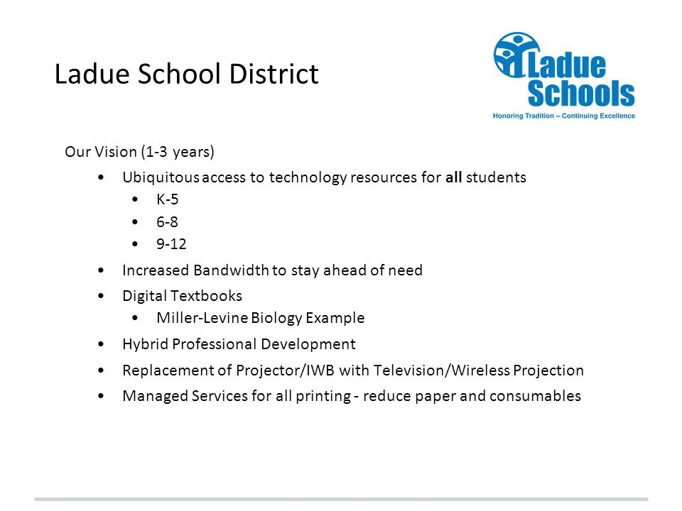 Ladue School District Our Vision (1-3 years)