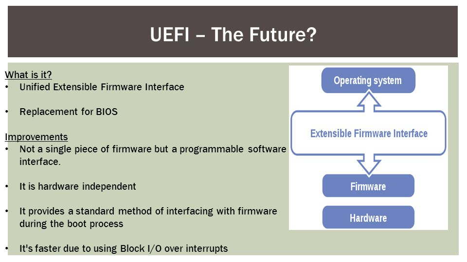 UEFI – The Future What is it Unified Extensible Firmware Interface