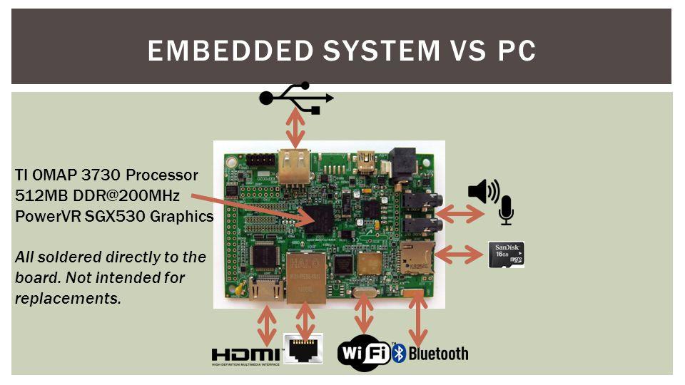 Embedded System vs pc TI OMAP 3730 Processor 512MB DDR@200MHz