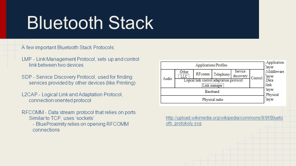 Bluetooth Stack A few important Bluetooth Stack Protocols: