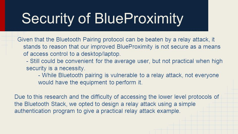 Security of BlueProximity