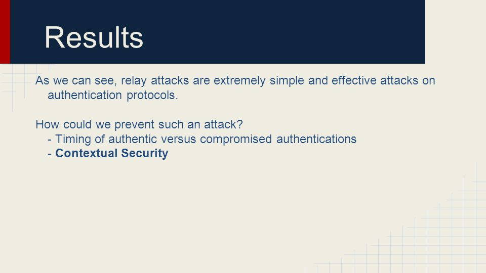 Results As we can see, relay attacks are extremely simple and effective attacks on authentication protocols.