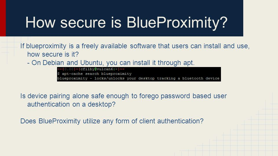 How secure is BlueProximity