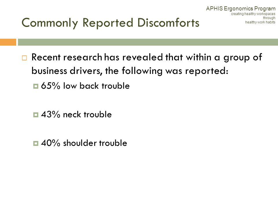 Commonly Reported Discomforts
