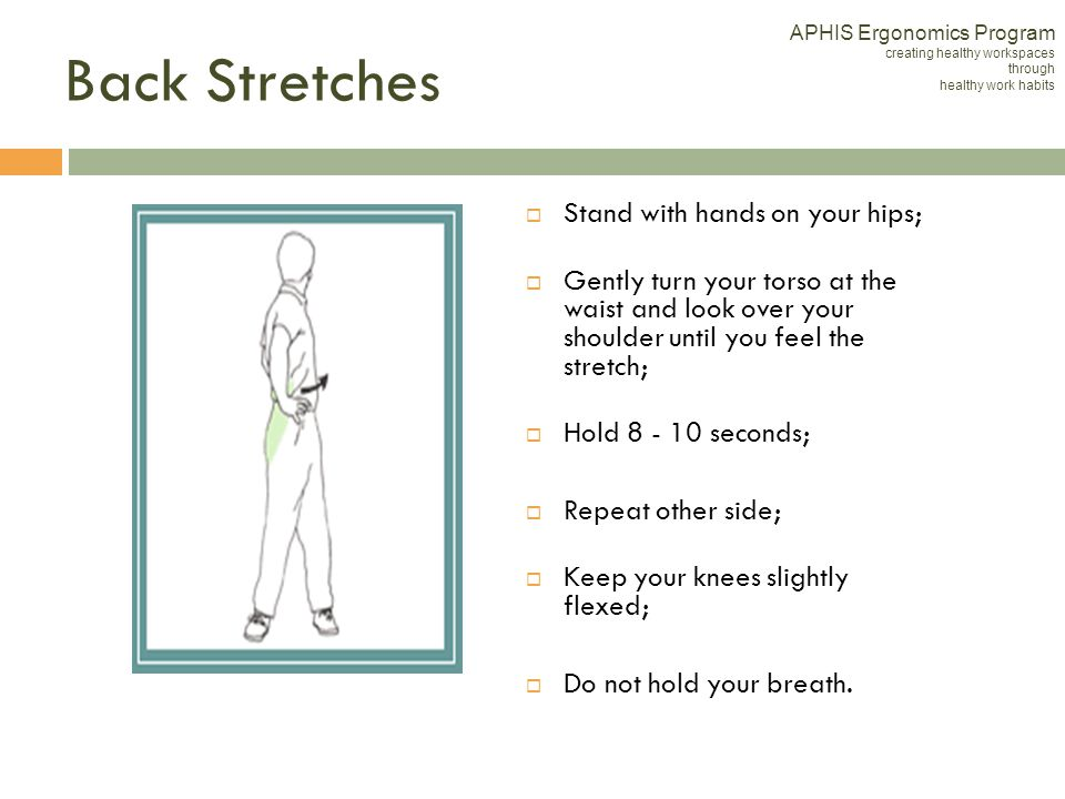 Back Stretches Stand with hands on your hips;