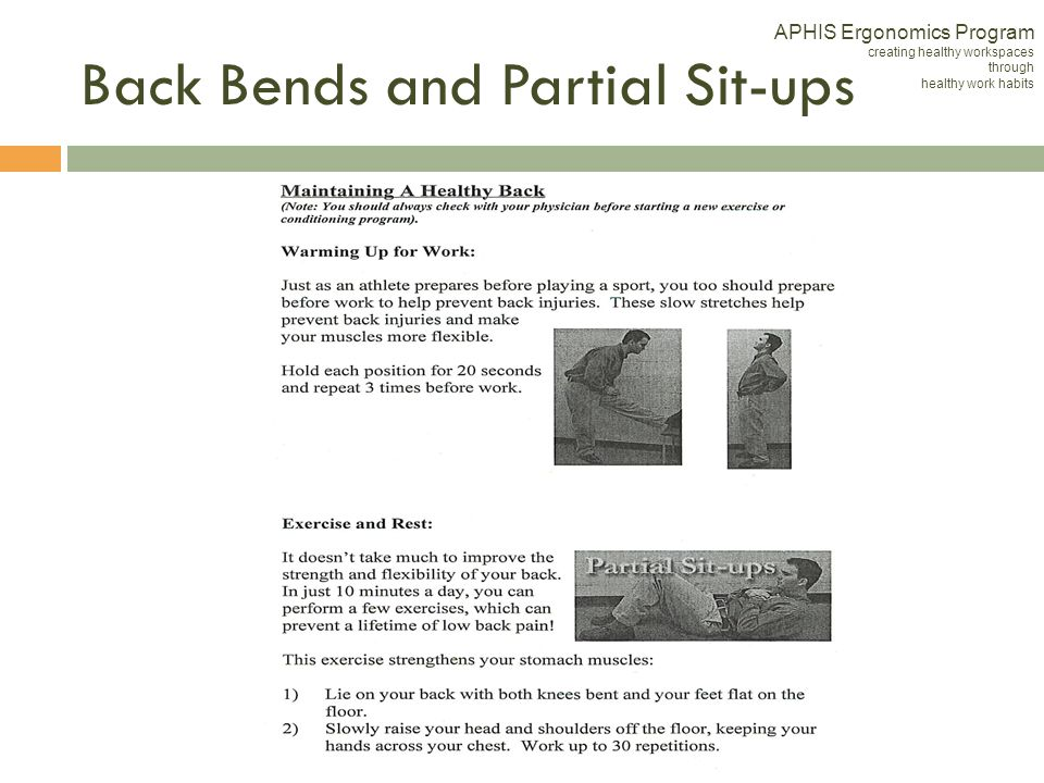 Back Bends and Partial Sit-ups