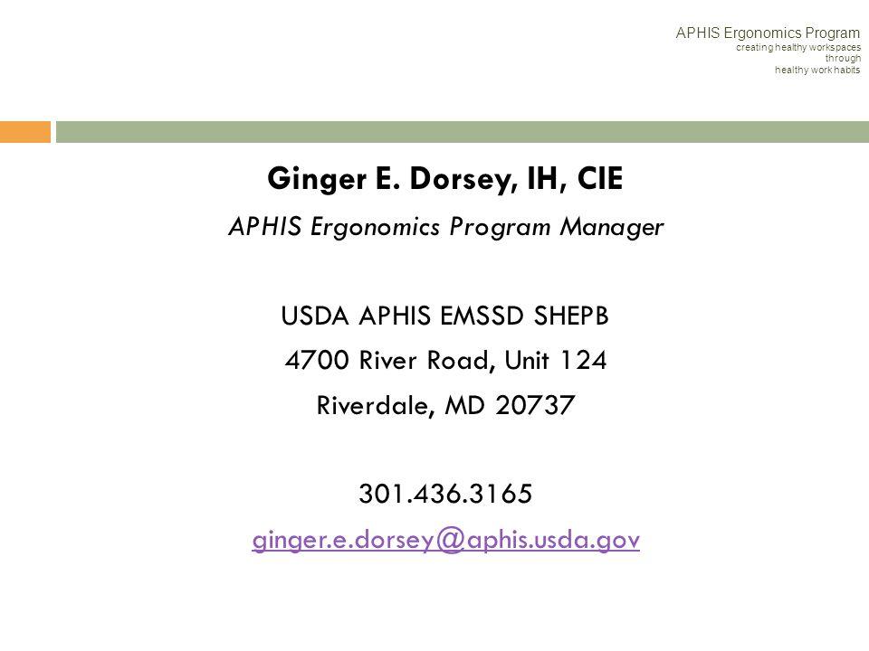 APHIS Ergonomics Program Manager