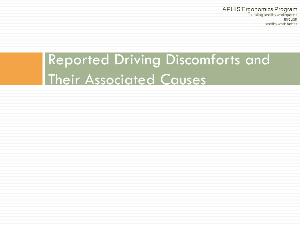 Reported Driving Discomforts and Their Associated Causes