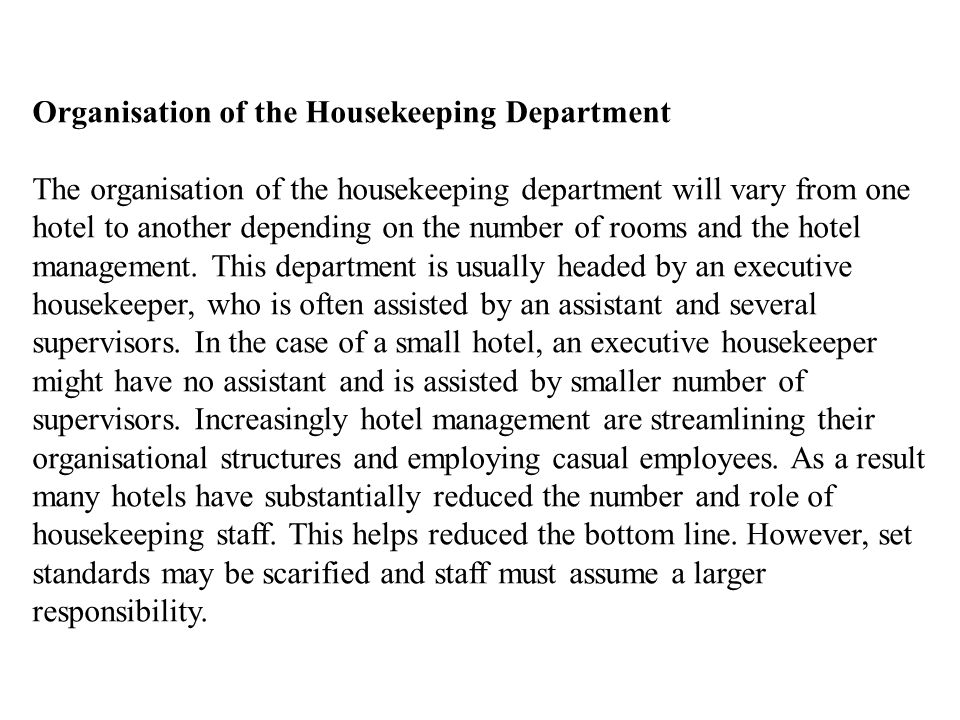 Organisation of the Housekeeping Department
