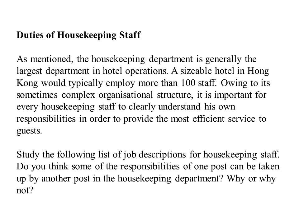Duties of Housekeeping Staff