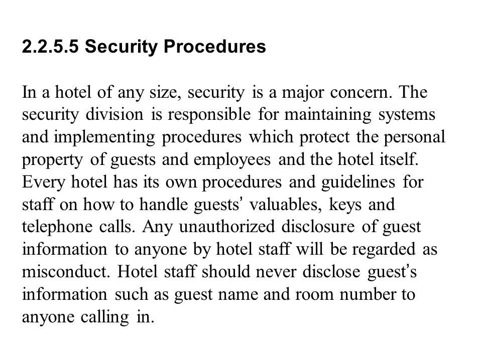 2.2.5.5 Security Procedures