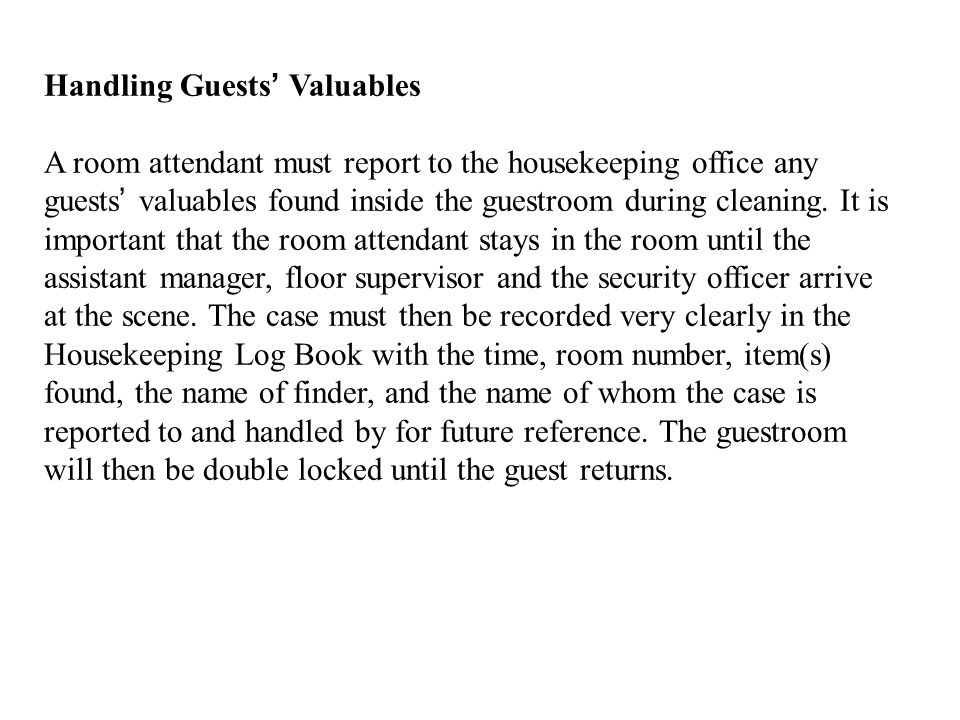 Handling Guests' Valuables