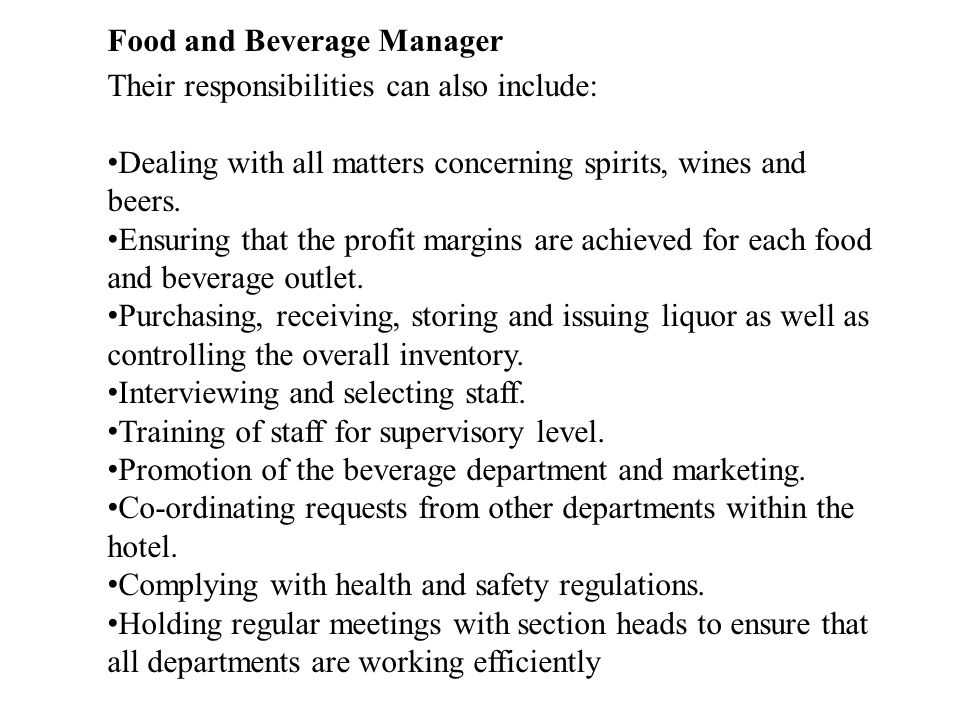 Food and Beverage Manager