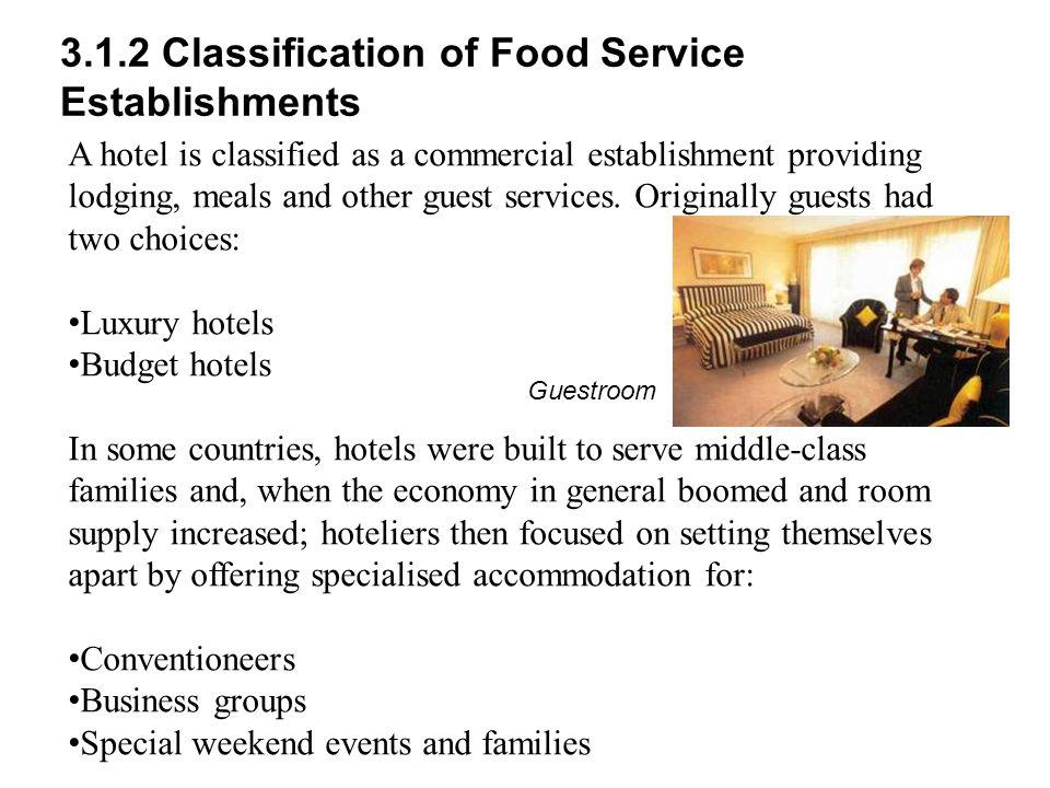 3.1.2 Classification of Food Service Establishments