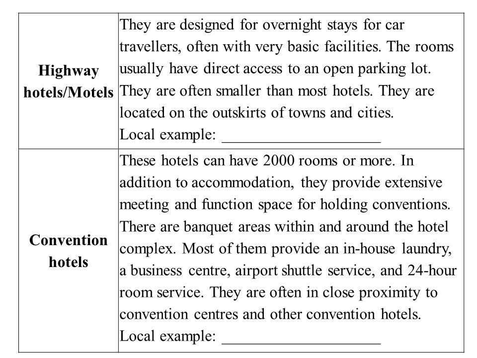 Highway hotels/Motels