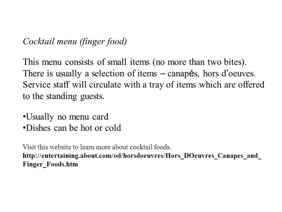Cocktail menu (finger food)