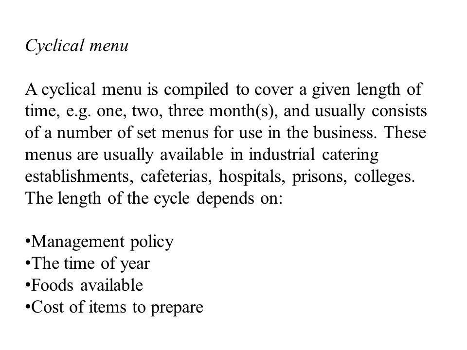 Cyclical menu