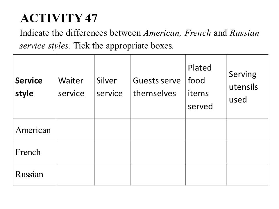 ACTIVITY 47 Indicate the differences between American, French and Russian service styles. Tick the appropriate boxes.