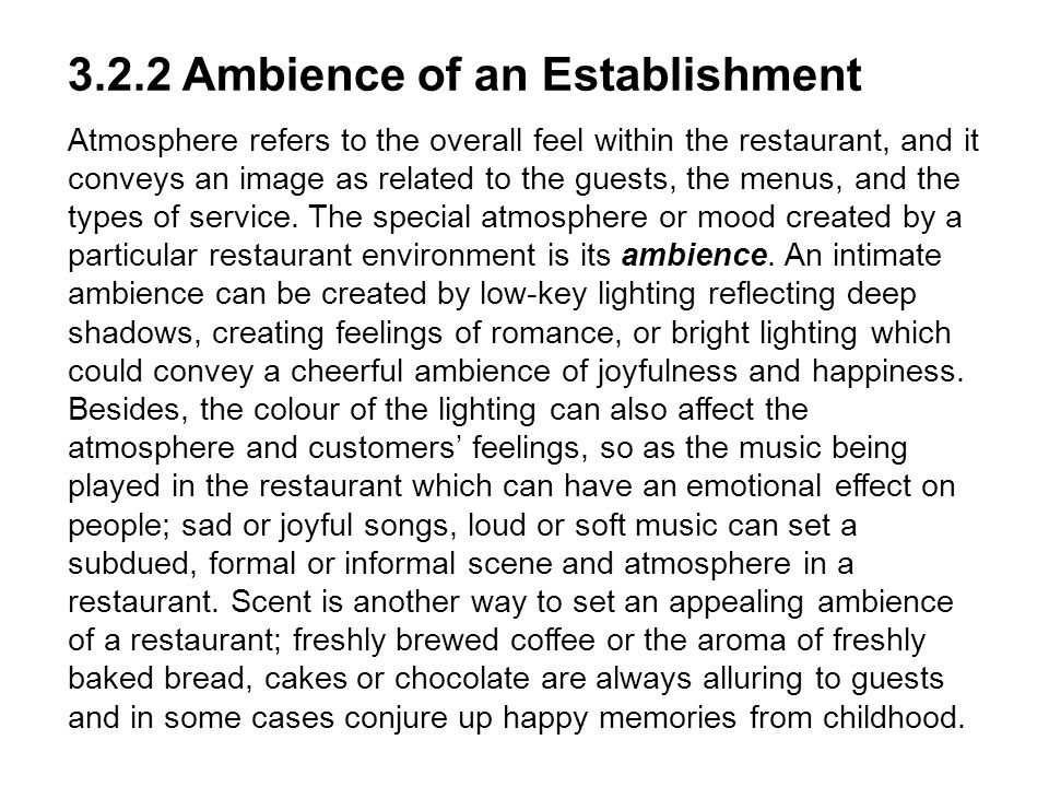 3.2.2 Ambience of an Establishment