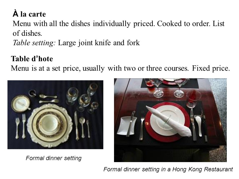 Table setting: Large joint knife and fork
