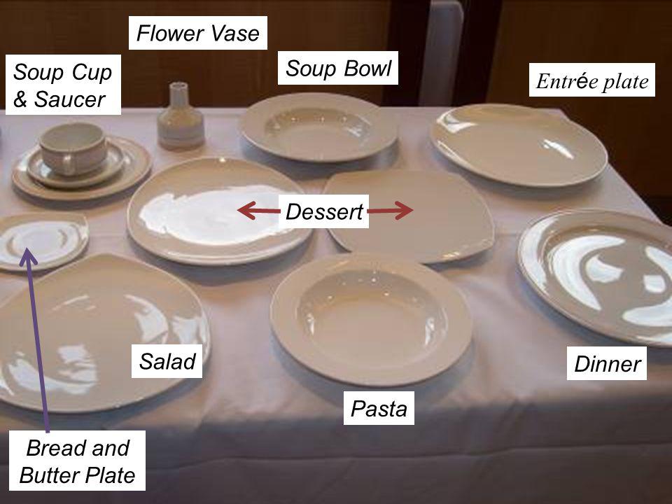 Flower Vase Soup Cup & Saucer. Soup Bowl. Entrée plate.