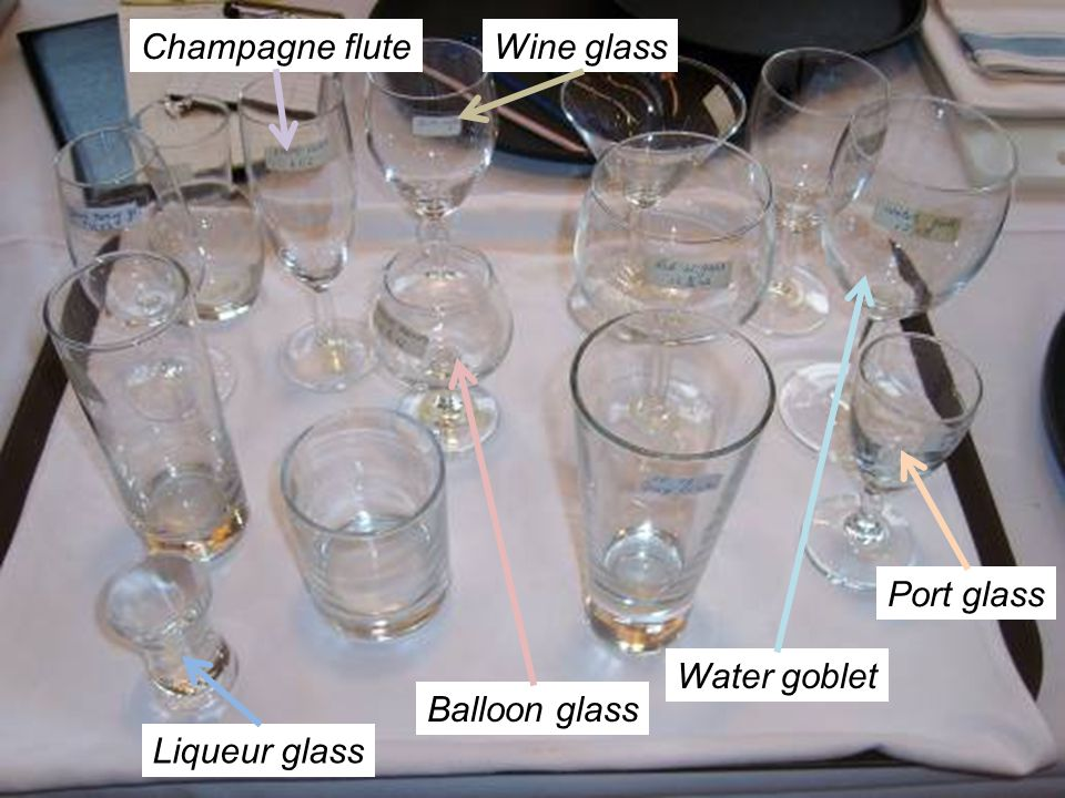 Champagne flute Wine glass Port glass Water goblet Balloon glass Liqueur glass