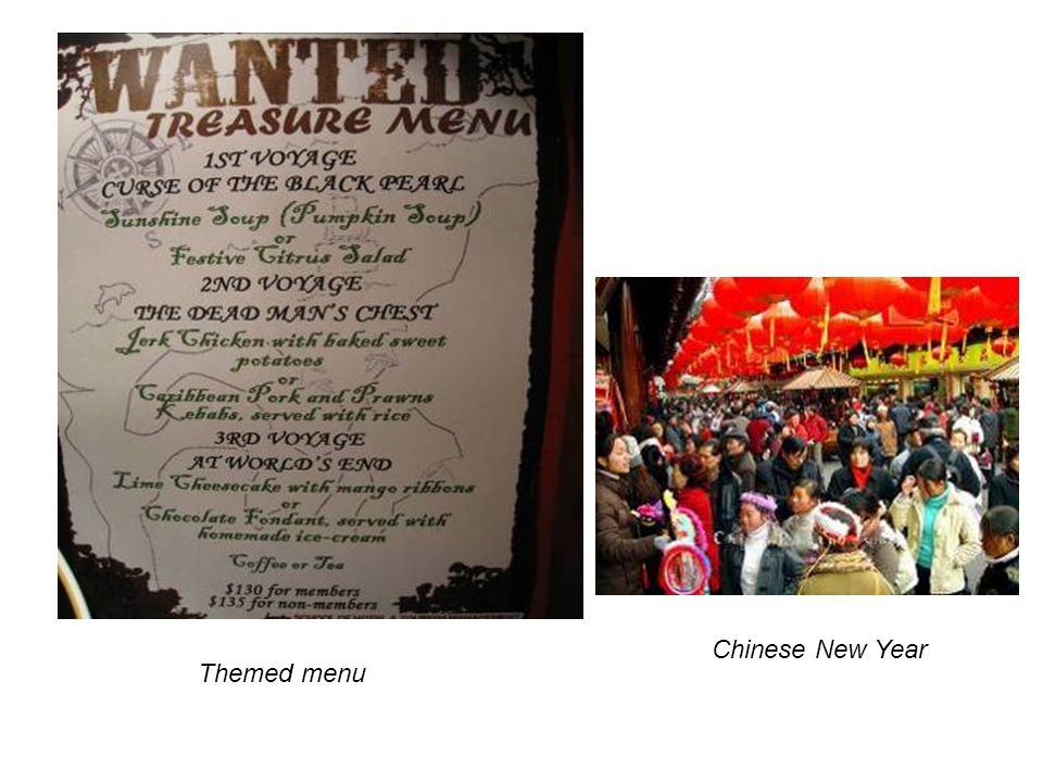 Chinese New Year Themed menu