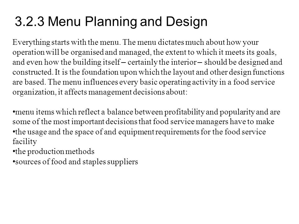 3.2.3 Menu Planning and Design